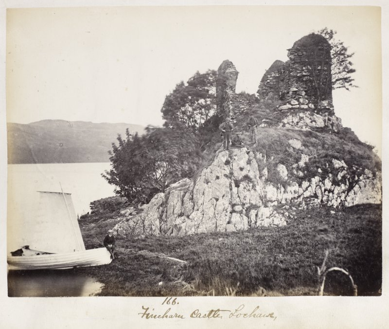 View of castle with sailing boat in foreground. Titled:  '166. Fincharn Castle, Lochawe'.
