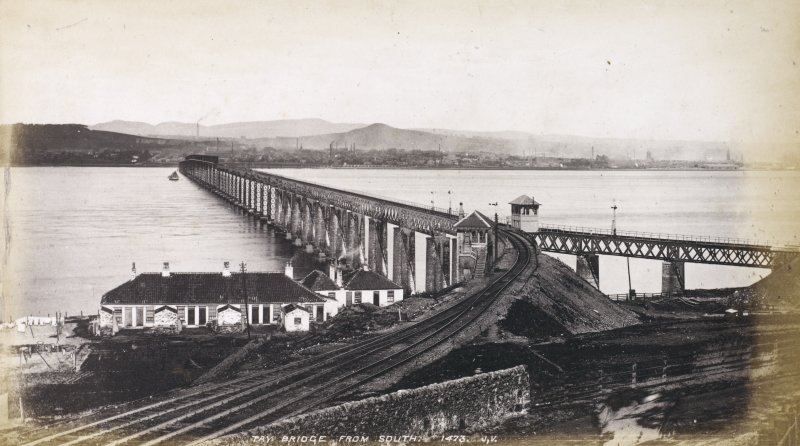 General view,  Titled: 'Tay Bridge from South. 1473, J.V.' . Caption below image: '1865'.