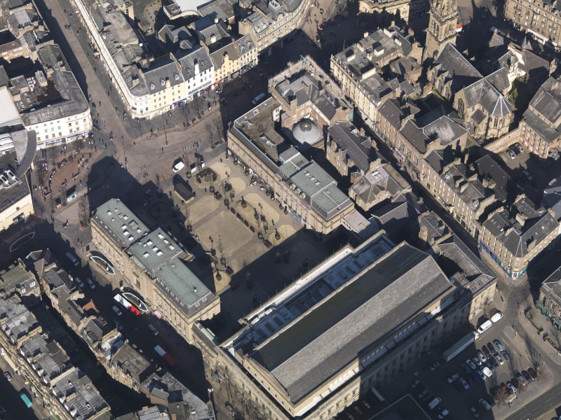 Oblique aerial view centred on the Caird Hall, taken from the S.
