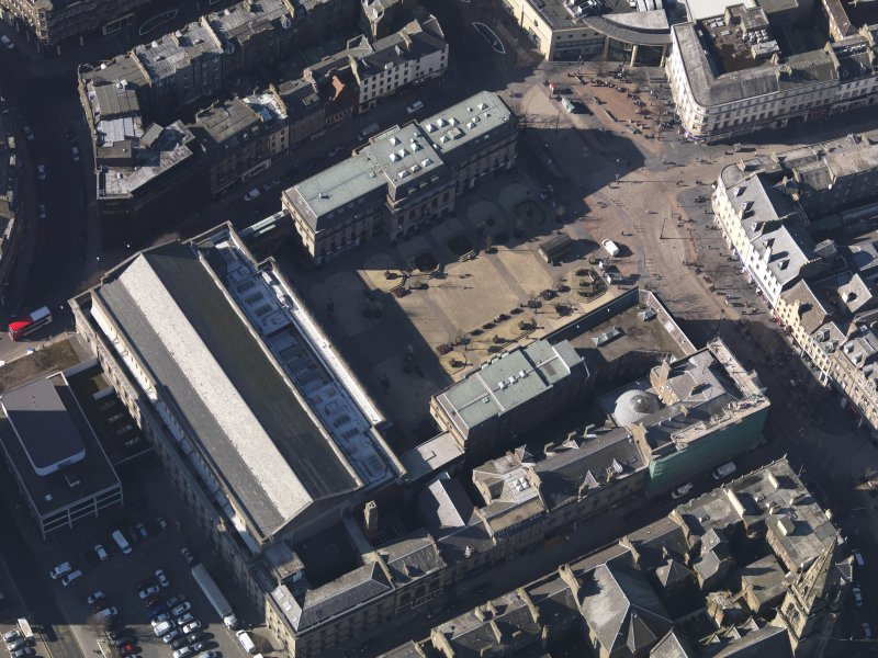 Oblique aerial view centred on the Caird Hall, taken from the ENE.