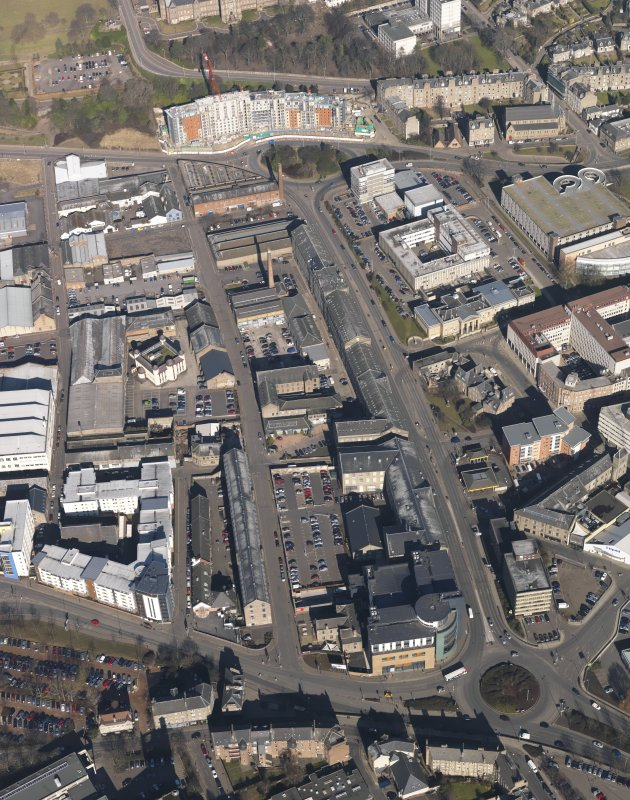 General oblique aerial view centred on the mills taken from the S.
