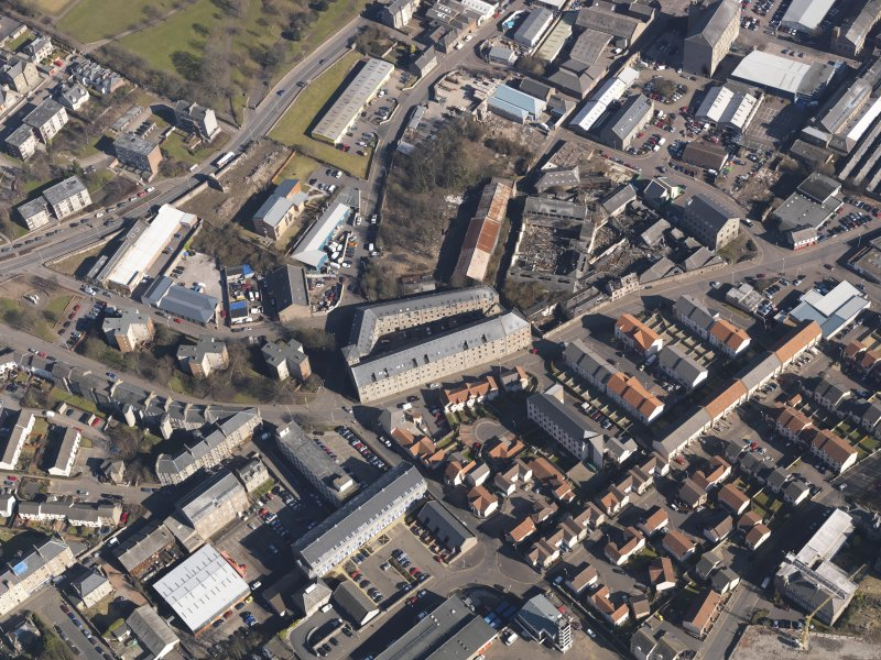 Oblique aerial view centred on the mills, taken from the SW.