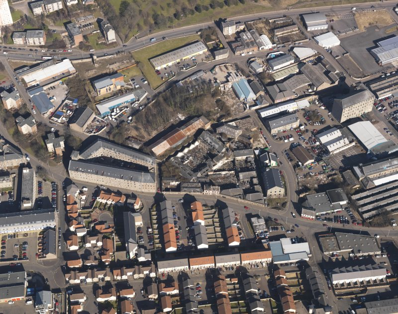 Oblique aerial view centred on the mills, taken from the S.