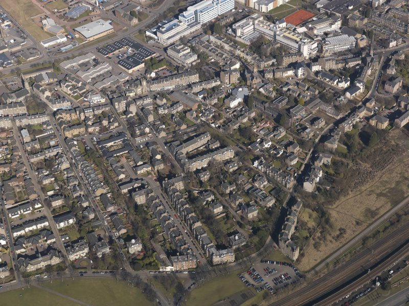 Oblique aerial view centred on Bellfield Avenue, taken from the S.