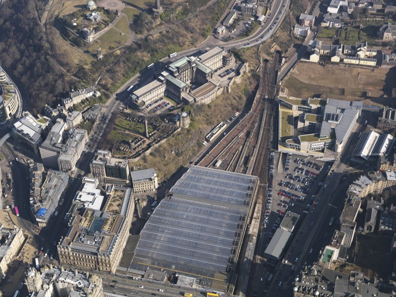 Oblique aerial view centred on the Scottish Office, taken from the SW.