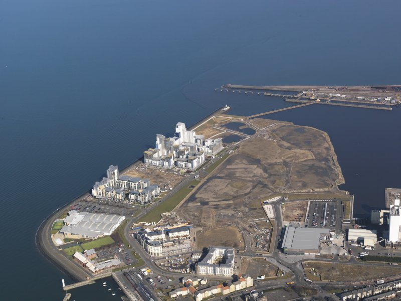 General oblique aerial view centred on the Western Breakwater development, taken from the SW.