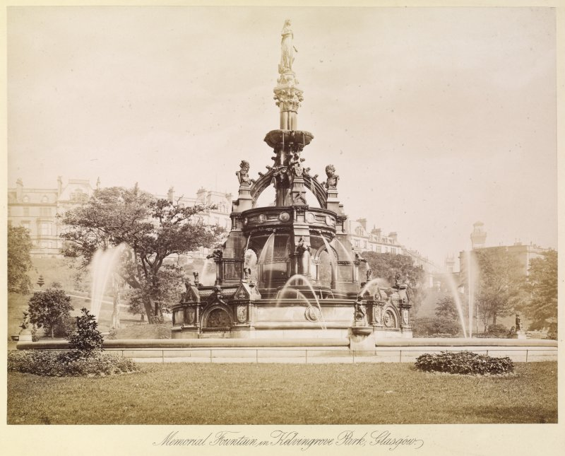 View of fountain  Titled: 'Memorial Fountain in Kelvingrove Park, Glasgow'.