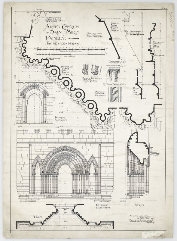 Plan, section, elevations and details of W doorway.
