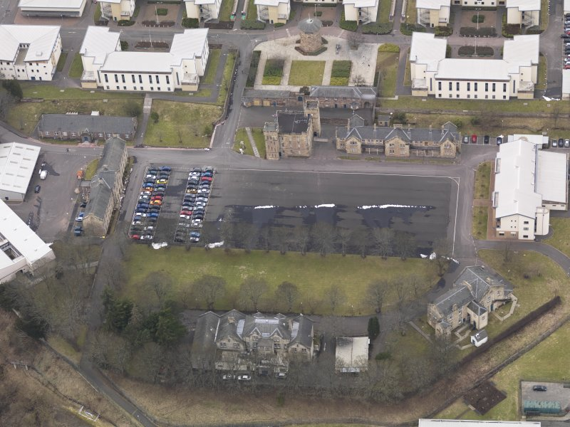 Oblique aerial view centred on the barracks, taken from the ESE.