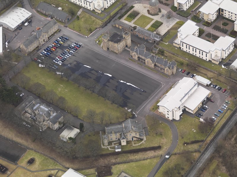 Oblique aerial view centred on the barracks, taken from the ENE.