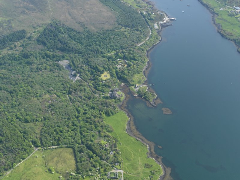 General oblique aerial view of Dunvegan castle and policies, taken from the N.
