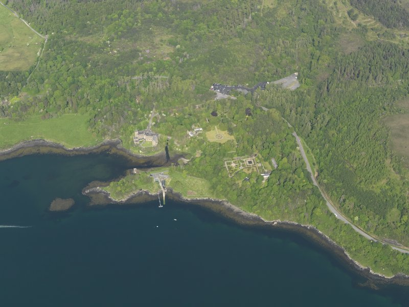 General oblique aerial view of Dunvegan castle and policies, taken from the W.