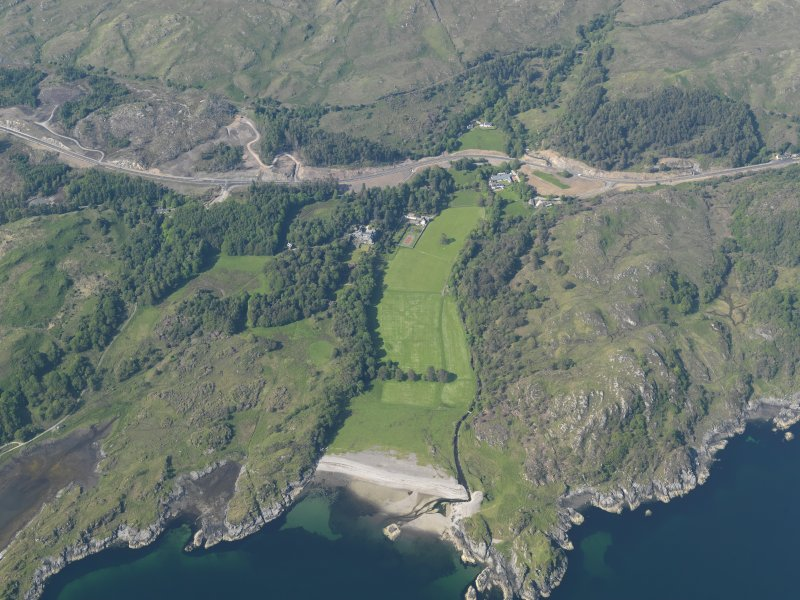 General oblique aerial view of Arisaig House, with the A830 improvement roadworks in the back ground, taken from the SSW.
