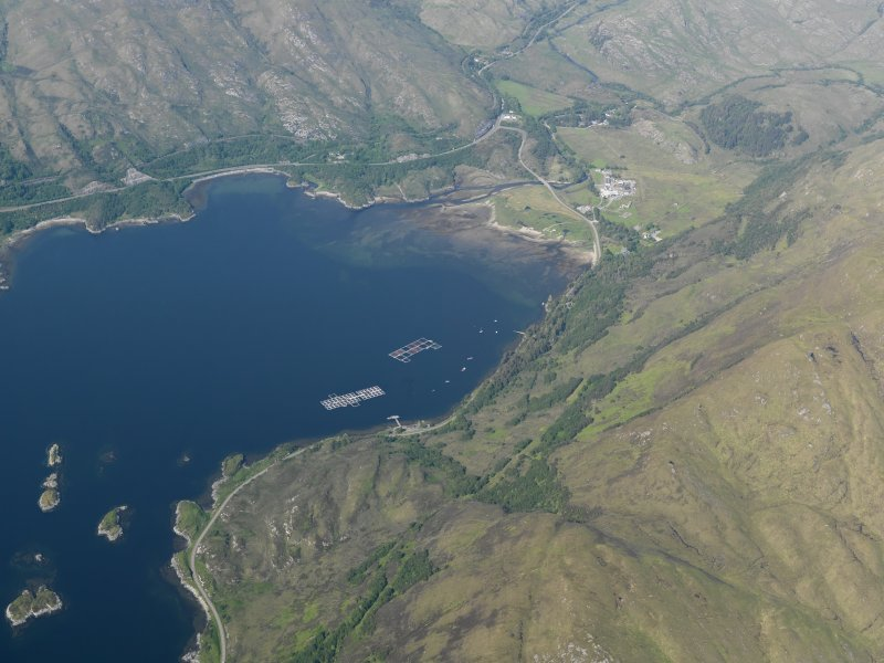 General oblique aerial view of of the head of Loch Ailort looking towards Lochailort village, taken from the SSW.