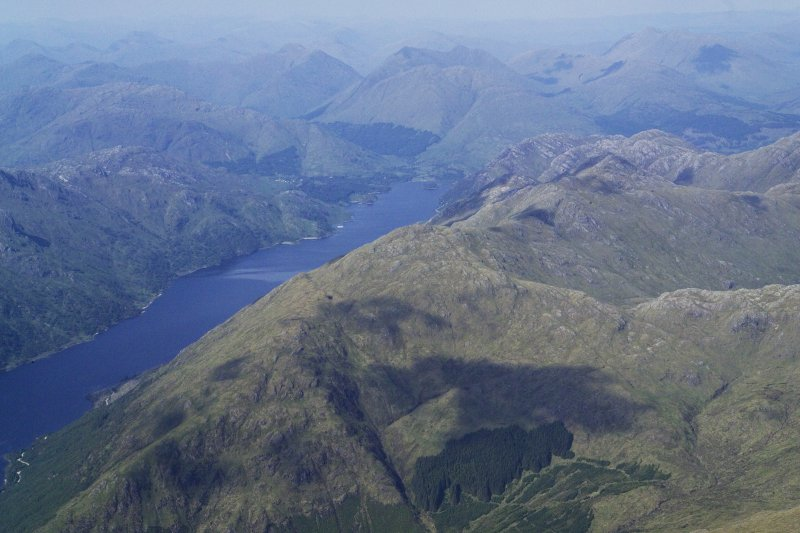 General oblique aerial view looking up Loch Shiel towards Glenfinnan with Sgurr Ghuibhsachain in the foreground, taken from the S.