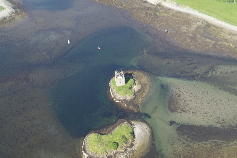 General oblique aerial view of Castle Stalker, taken from the W.