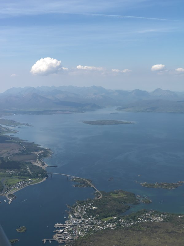 General oblique aerial view centred on the Skye Bridge, taken from the E.