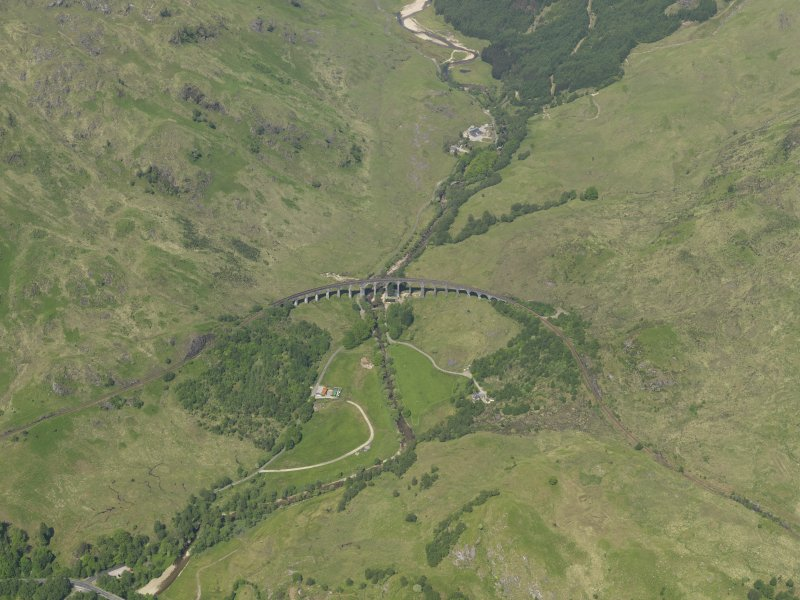 Oblique aerial view centred on Glenfinnan viaduct, taken from the SSW.