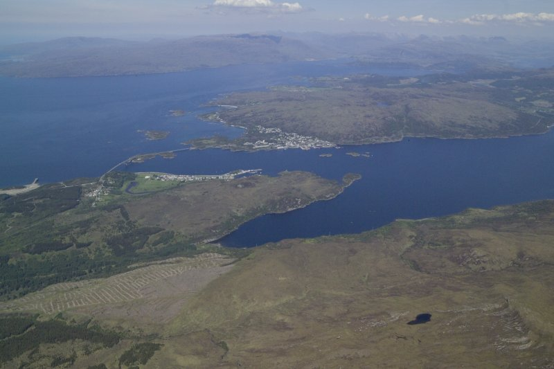 General oblique aerial view of the Skye Bridge with Kyleakin in the foreground and Kyle of Lochalsh in the distance, taken from the S.