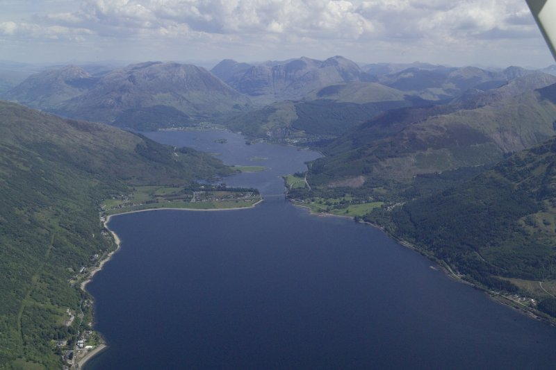 General oblique aerial view of looking along Loch Leven towards Ballachulish Bridge and Glen Coe, taken from the SW.