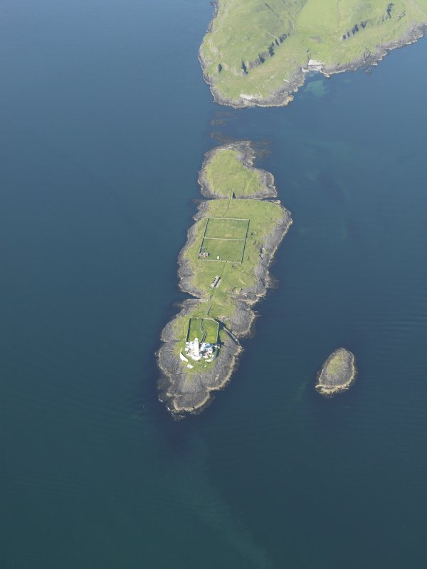 General oblique aerial view of Eilean Musdile and the Lismore lighthouse, taken from the SSW.
