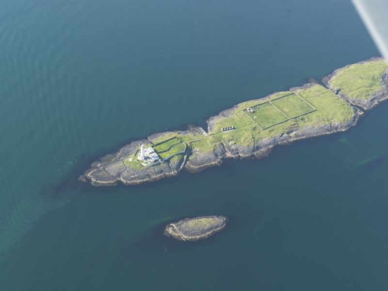 General oblique aerial view of Eilean Musdile and the Lismore lighthouse, taken from the SSE.