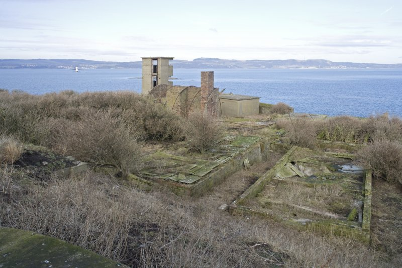 View from SW (main gun platform) looking to No.2 gun emplacement with the Battery Observation Tower.