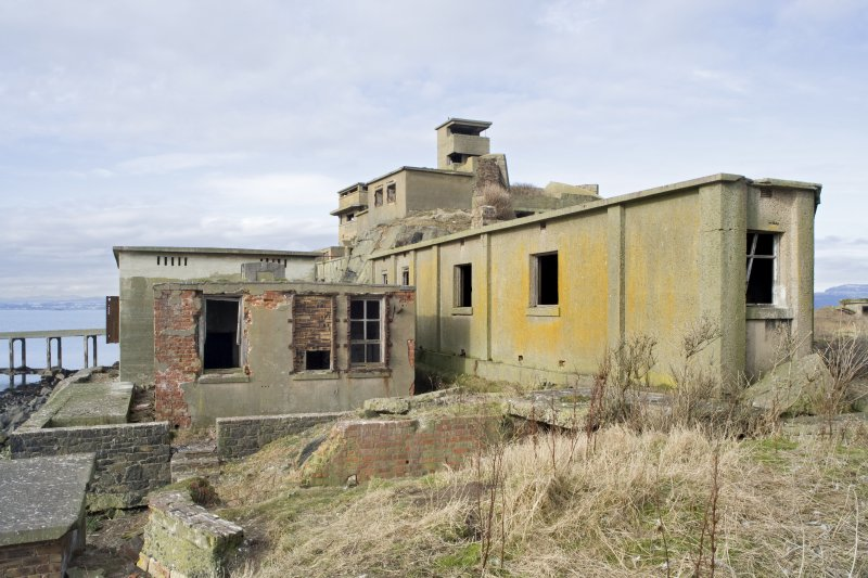 View from SSE looking back to No.1 Gun Emplacement and Battery Observation Tower with stores buildings in the foreground.