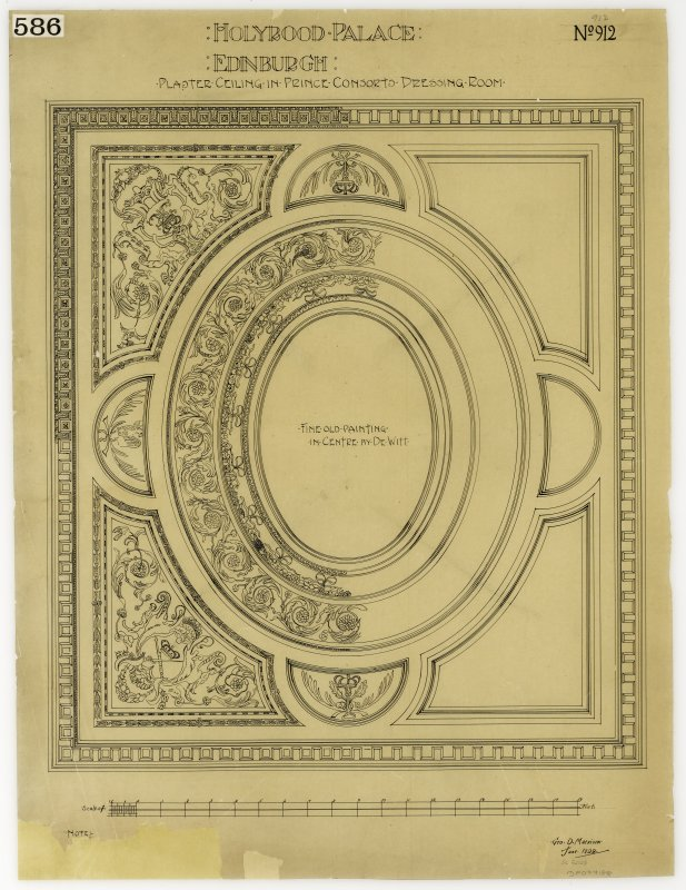 Holyrood Palace. Plan of plaster ceiling in Prince Consort's dressing room.
