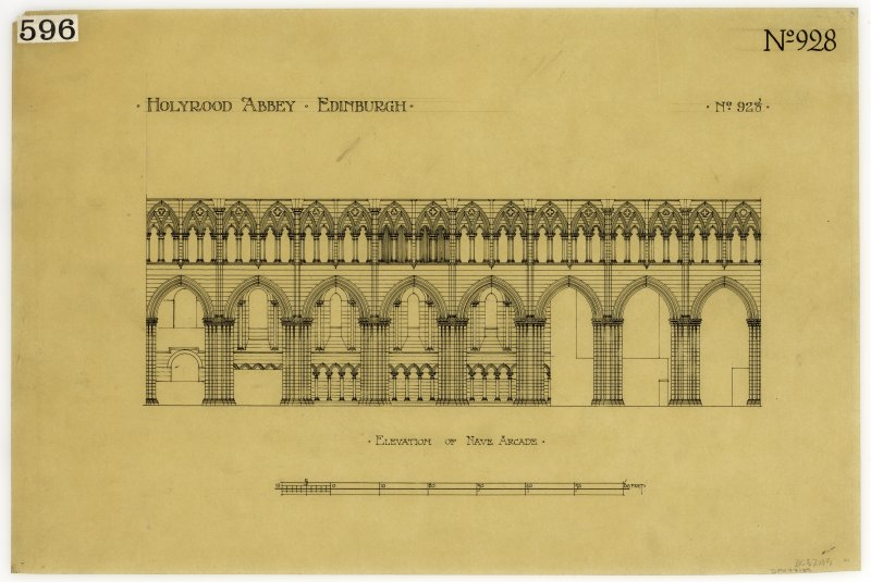 Holyrood Abbey. Elevation of nave arcade.