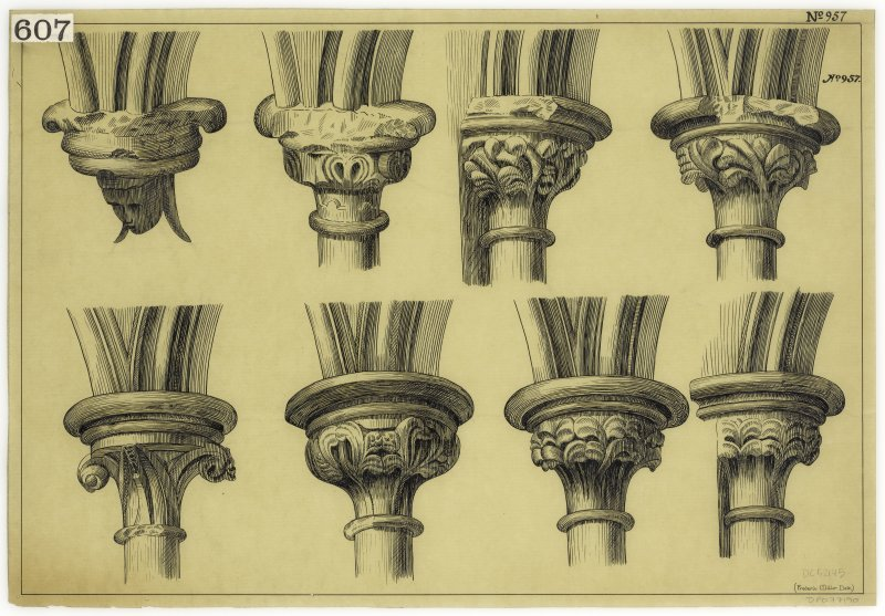 Holyrood Abbey. Details of capitals.