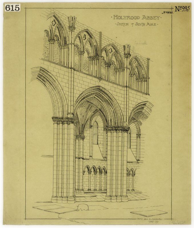 Holyrood Abbey. Sketch of south aisle.