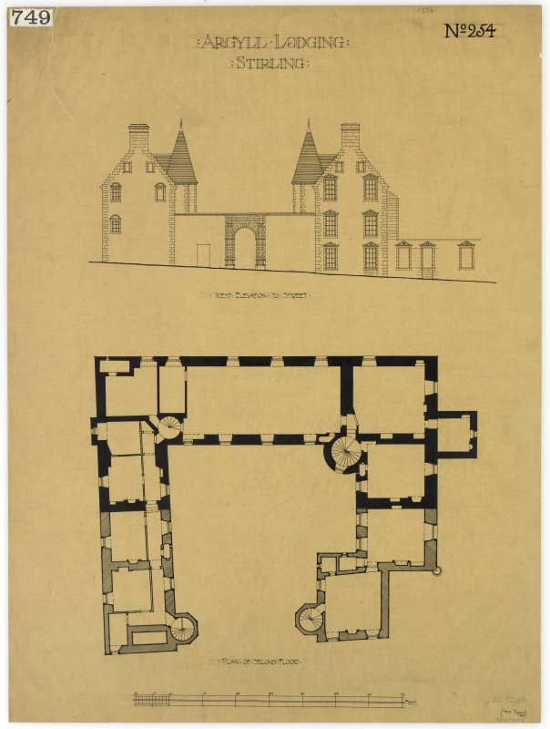 Argyll Lodging, Stirling. Plan of second floor. W elevation to street.