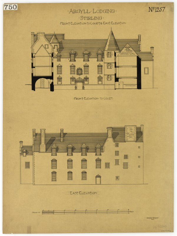 Drawing showing front elevation to court and E elevation, Argyll Lodging, Stirling.