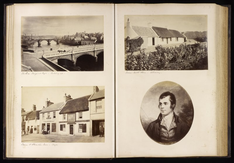 Four views showing 'The Twa Brigs-o-Ayr looking up'; 'Tam O'Shanter Inn, Ayr', 'Burns Birth Place - Alloway' and a portrait of Robert Burns.
