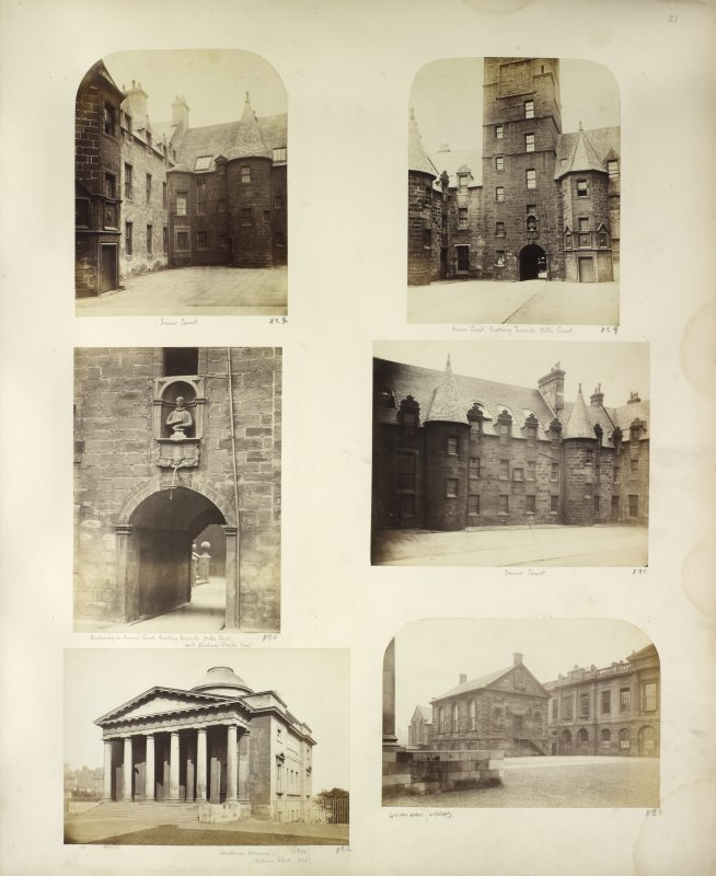 Six views of Glasgow University, William Adam Library and Hunterian Museum.