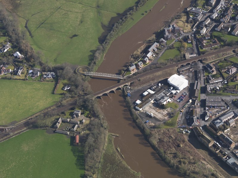 Oblique aerial view centred on the viaducts, taken from the SW.