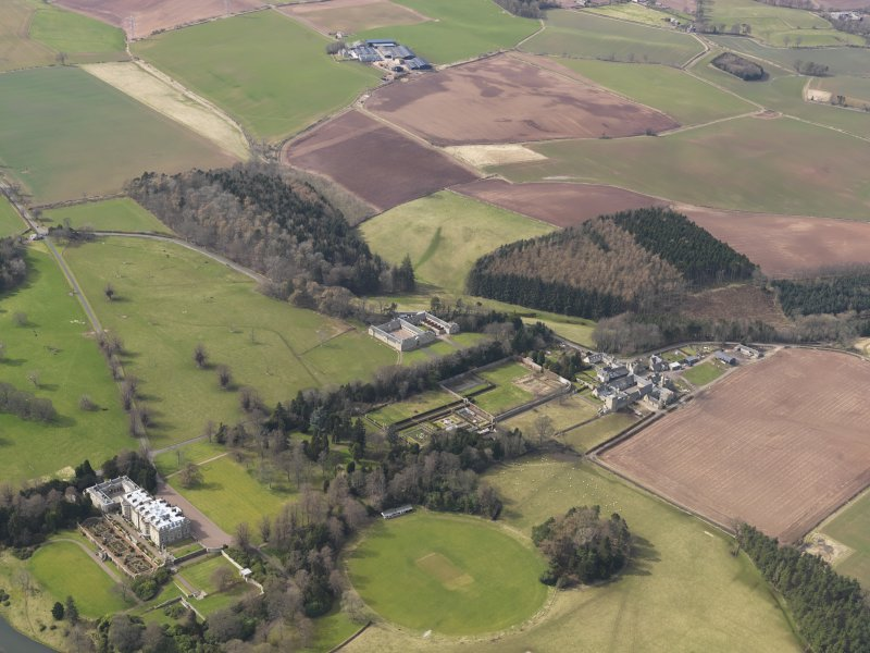 General oblique aerial view centred on the Manderston policies, taken from the SE.