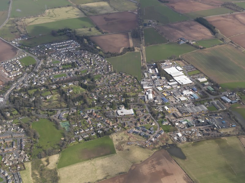 General oblique aerial view centred on the town, taken from the WSW.