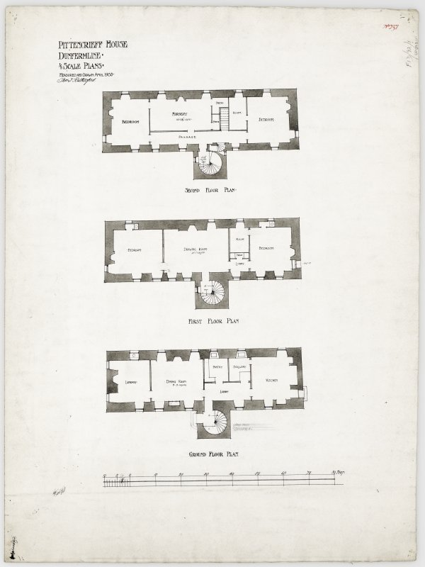 Ground, first and second floor plans of Pittencrieff House, Dunfermline.