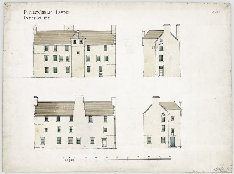Elevations of Pittencrieff House, Dunfermline.
