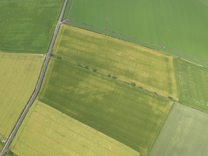 Oblique aerial view of the cropmarks of the round house, taken from the ESE.