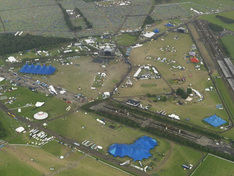 Oblique aerial view of T in the Park at Balado Bridge airfield, taken from the W.