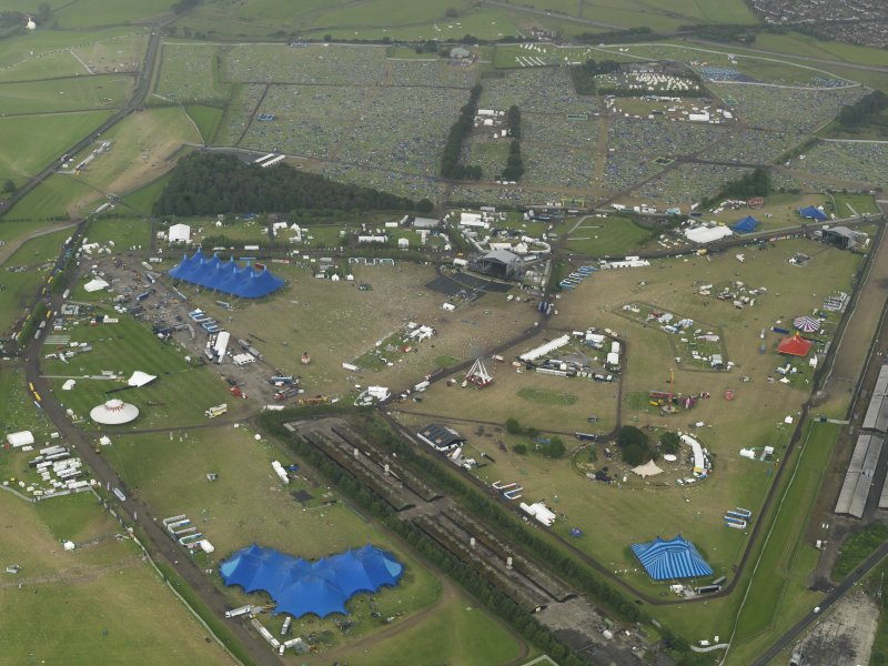 Oblique aerial view of T in the Park at Balado Bridge airfield, taken from the WSW.