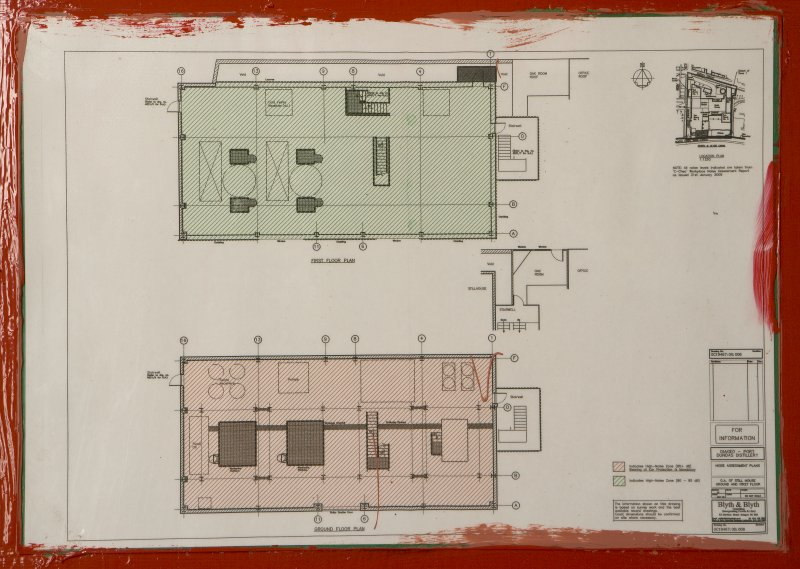 Interior. Still house, diagram showing ground and 1st floor plans of still house