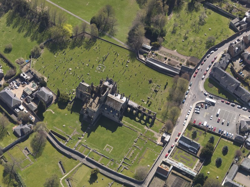 Oblique aerial view centred on the abbey, taken from the NW.