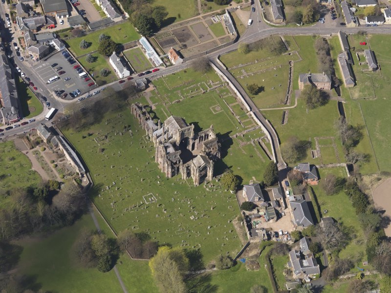Oblique aerial view centred on the abbey, taken from the ESE.