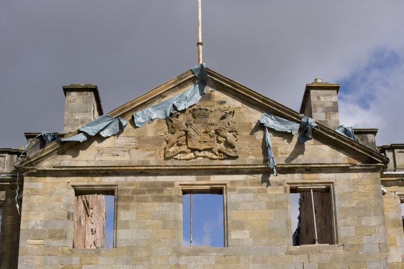 Detail of pediment above W entrance