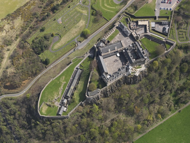 General oblique aerial view of the castle centred on the Great Hall, taken from the W.