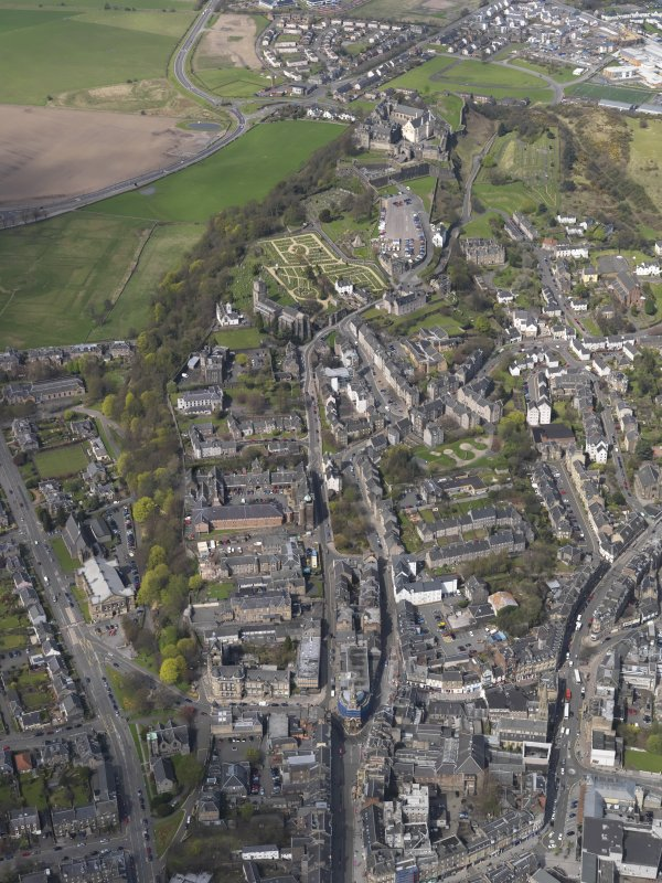 General oblique aerial view of the city centre, centred on Spittal Street leading to the castle, taken from the SE.